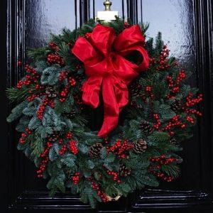 Christmas Door Wreath, fresh pine, red ilex berry and cones Kensington flowers