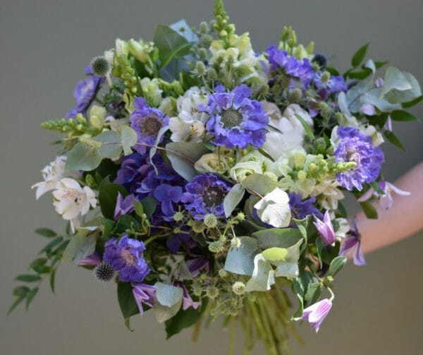 Photo of a sample of a Blue and white seasonal Hand tied bouquet Kensington flowers