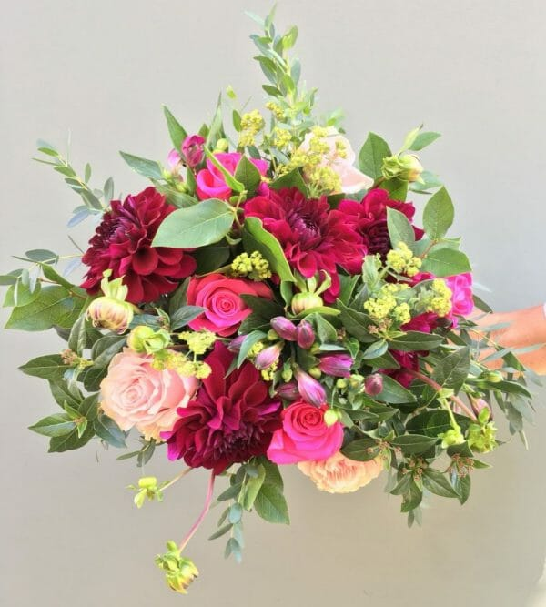 Photo showing a sample of a studio florist choice bouquet available from Kensington flowers London
