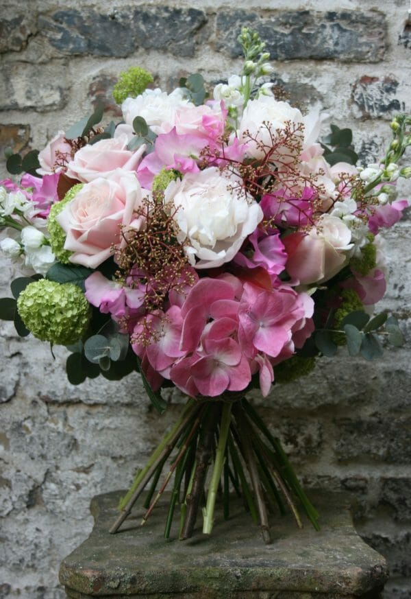 Photo showing a sample of a Scented Bouquet in a country garden design, peonies, hydrangeas stocks and roses included. Kensington flowers