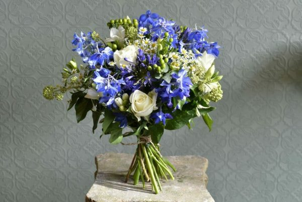 Photo showing a sample of a Blue and white bouquet /scented garden bouquet from Kensington Flowers, London
