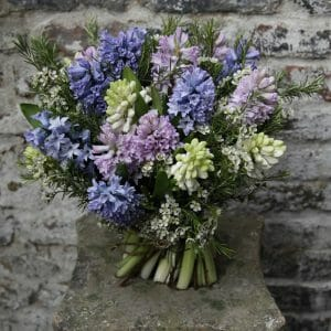 Photo showing a sample of a Scented Flowers en Masse Bouquet using blue and lilac Hyacinths Kensington flowers