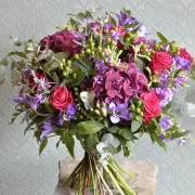Rich Pink and Lilac Seasonal Hand Tied Bouquet