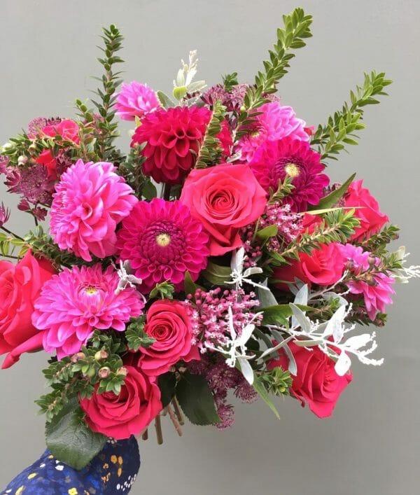 Photo showing a sample of a Seasonal vivid bouquet Studio choice Kensington flowers London