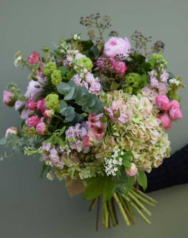Photo showing a sample of a scented bouquet garden style in pink shades available from Kensington flowers