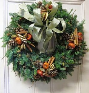 door wreath fruits