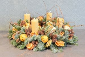 Advent wreath  rustic fruits