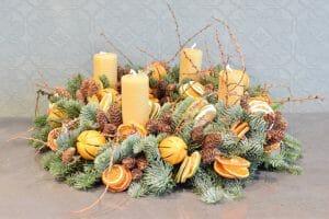 Advent wreath  rustic fruits