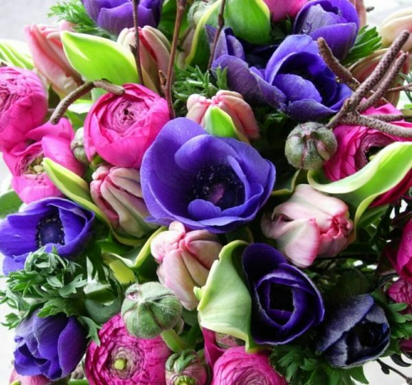 Seasonal spring flower bouquet invited and mixed colours available from Kensington flowers, London