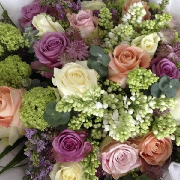 Seasonal Rose and lilac bouquet mixed colour