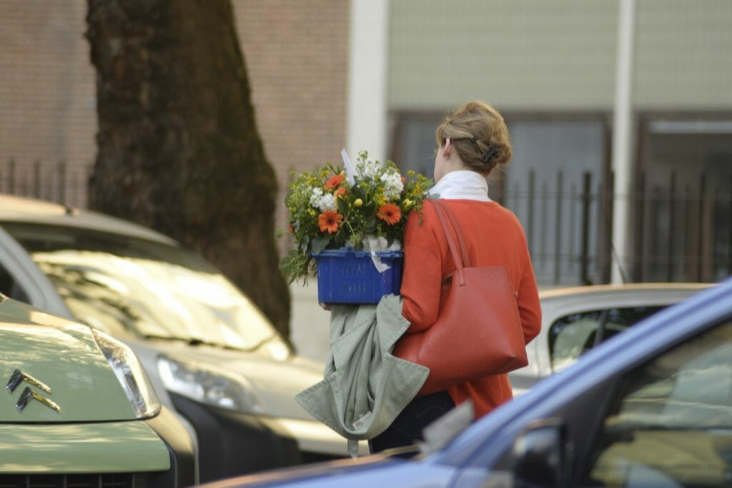 Juliet delivering flowers locally Kensington flowers London delivery