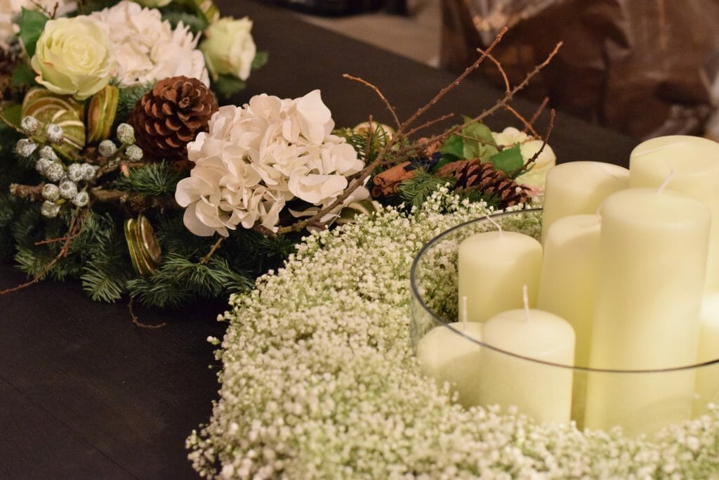 Christmas Table garland and gyp ring Kensington flowers