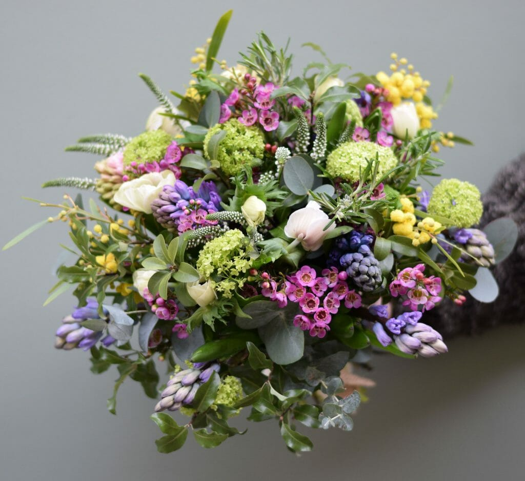Sample photo of a Florist choice bouquet for Mother's Day spring available form Kensington flowers London
