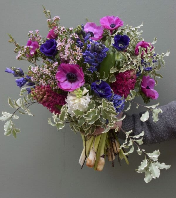 Spring flower bouquet of mixed colours, available to order from Kensington flowers, London