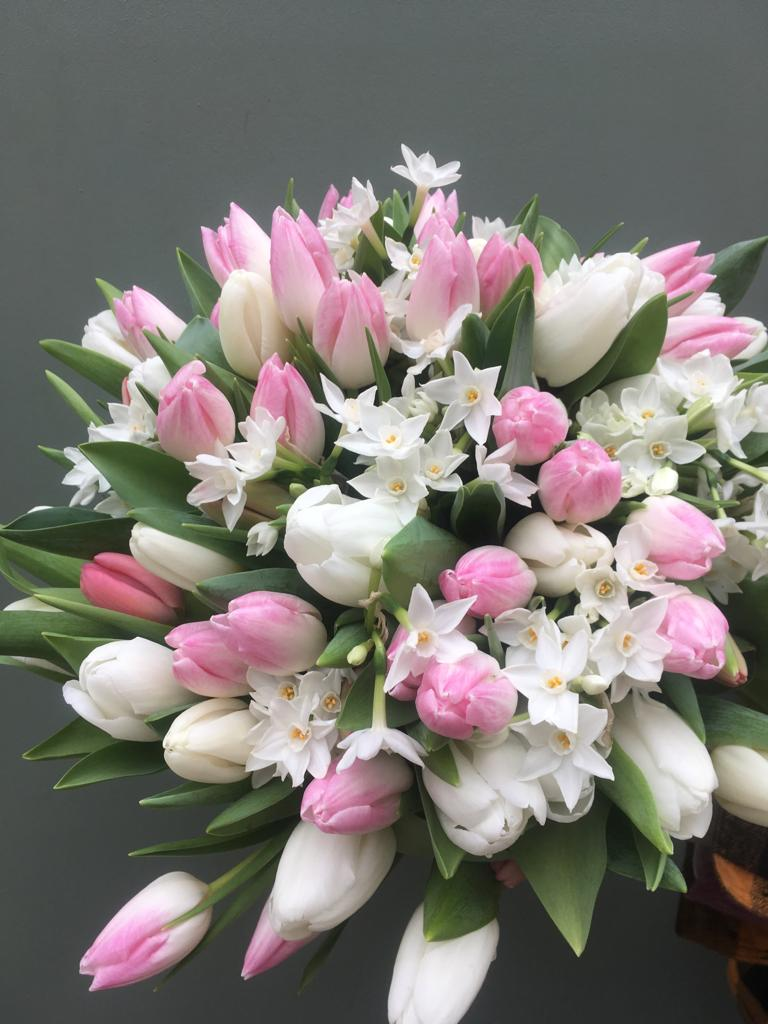 Photo showing a sample of a Tulip-and-narcissi-spring-bouquet- available at Kensington Flowers London