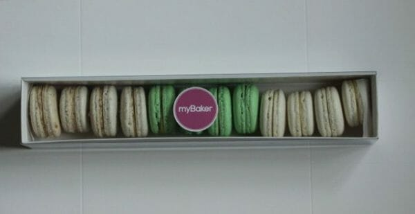photo of gift box of MyBaker Macarons mix flavours available at Kensington flowers
