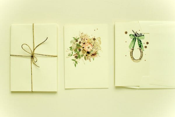 Photo of 2 handmade gift cards by Elena Deshmukh designs, available at Kensington flowers