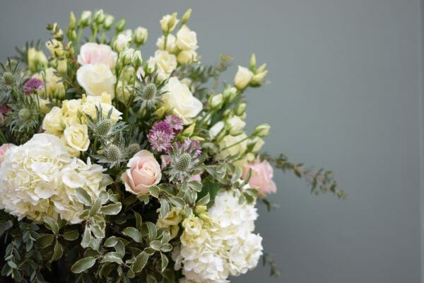 Photo of a Seasonal Rose Bouquet in pink and white colours roses, hydrangeas, spray roses, astrantia Kensington flowers