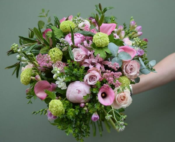 Photo showing a Seasonal rose and peony flower bouquet pink shades colour choice Kensington flowers