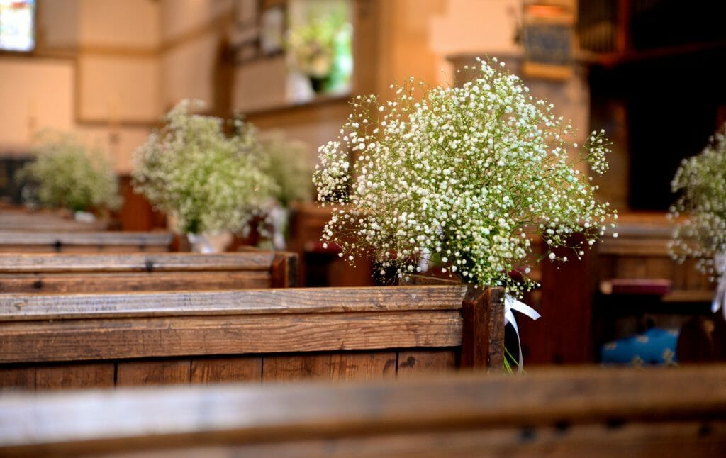 Photo of Gypsophila Pew ends at a church for Wedding Flowers