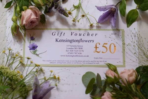 Photo showing a sample of a Kensington flowers £50 Gift vouchers