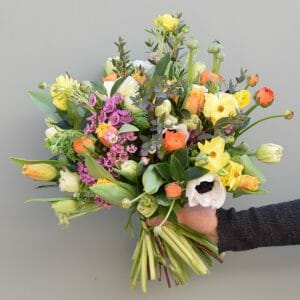 Mix-colour-spring-flower-bouquet available from Kensington flowers London