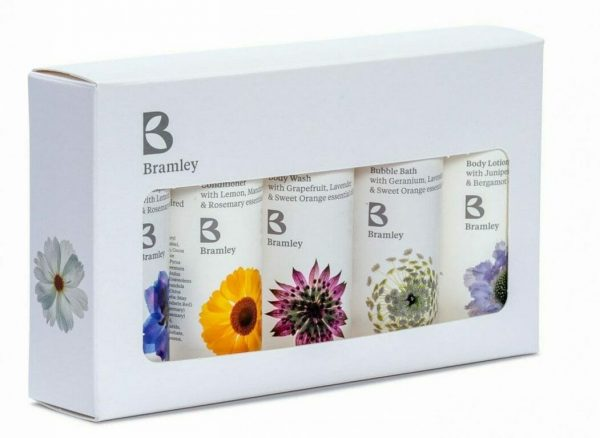 Photo showing a sample of Bramley product starter kit available to order with flowers as a gift set from Kensington flowers London