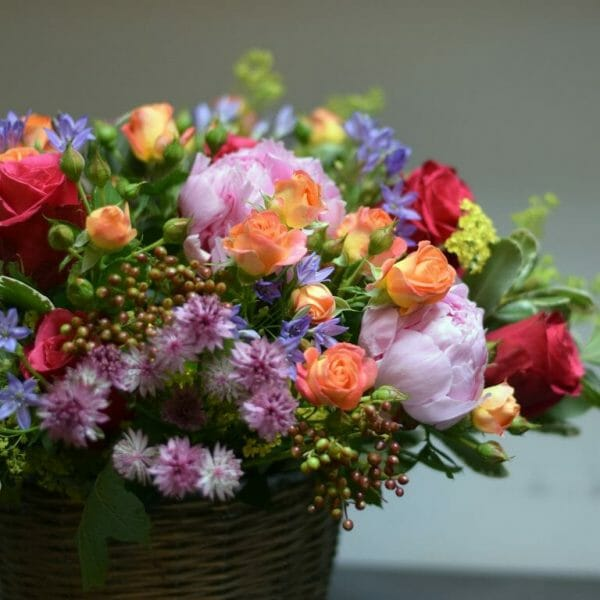 Photo showing a sample of a summer Bucket of Flowers available to order from Kensington flowers, London