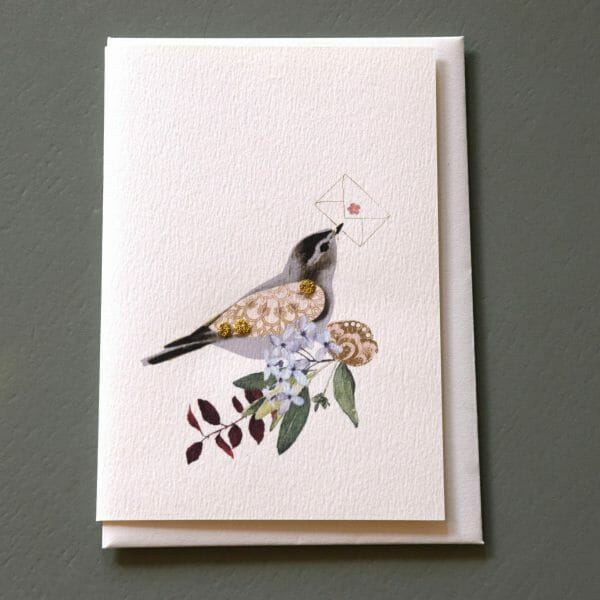 Photo showing a sample of an Elena Deshmukh bird messenger gift card available to buy with flowers at Kensington flowers London