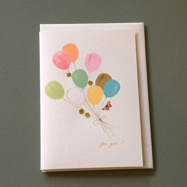Photo showing a sample of an Elena Deshmukh birthday balloons gift card available to buy with flowers at Kensington flowers London