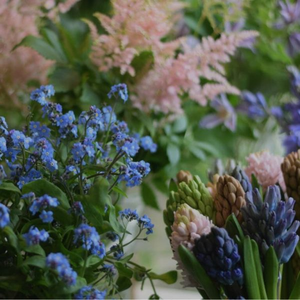 Photo showing a sample selection of flowers used for a flower home subscription service available to order from Kensington flowers London
