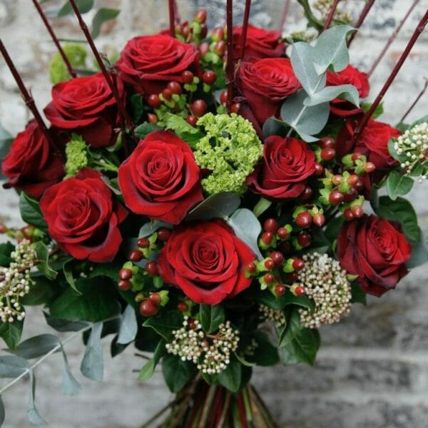 Photo showing a sample of a red Classic Rose Bouquet, Kensington flowers, London