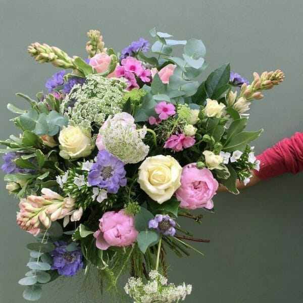 Photo showing a sample of a scented garden bouquet available form Kensington flowers London