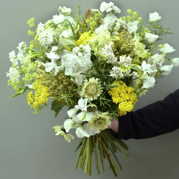 Photo showing sample of the British flower scented garden bouquet available to order from Kensington flowers London