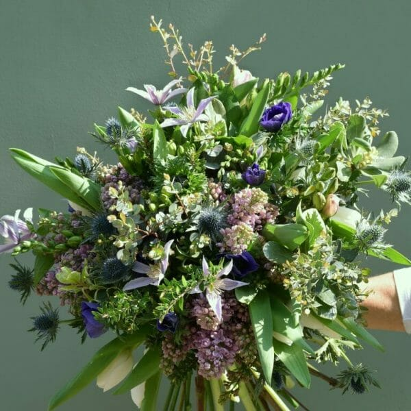 Seasonal-bouquet-blue, white and lilac shades available from Kensington flowers London