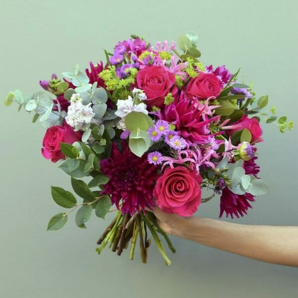 Photo showing a sample of a seasonal hand tied bouquet available to order from Kensington flowers London