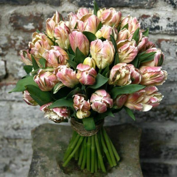 Photo showing a sample of a Parrot tulips Studio Florist Choice Bouquet Kensington flowers, London