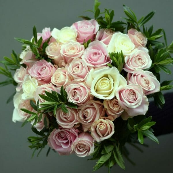 Photo showing a sample of a Classic rose bouquet, pink and white from Kensington flowers, London