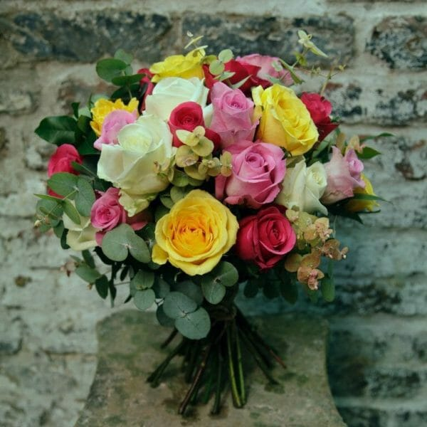 Photo showing a sample of a Classic Rose Bouquet, mixed colours, Kensington flowers, London