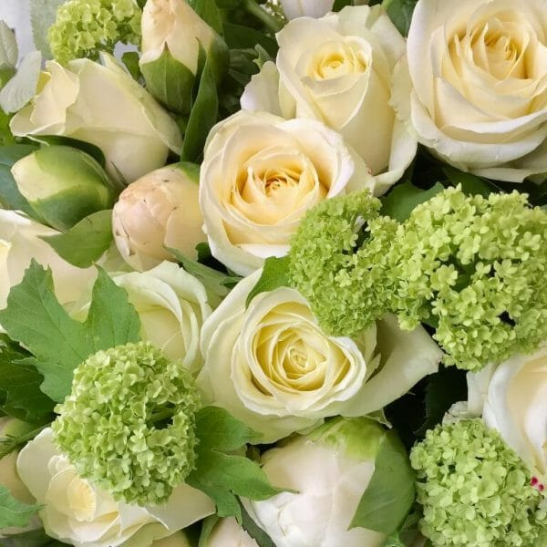 Photo showing a sample of a studio florist choice, white flower bouquet available from Kensington flowers London