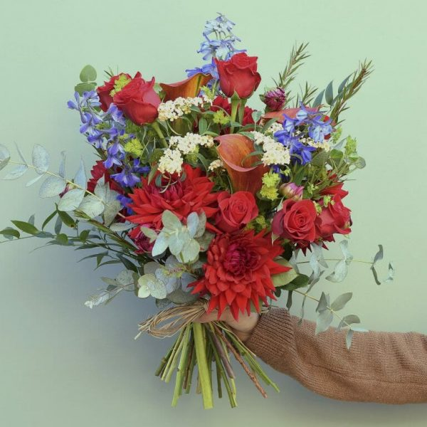 Photo showing a sample of a Handful bunch of flowers of vivid colours available from Kensington flowers London