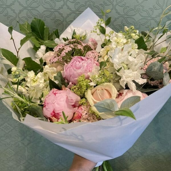 Photograph showing a sample of a pastel scented garden bouquet available from Kensington Flowers London