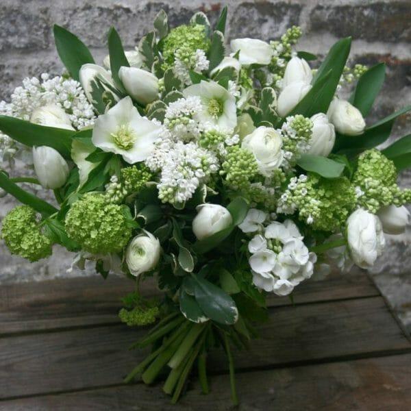Photo showing a sample of white Seasonal Hand Tied Bouquet, Kensington Flowers London